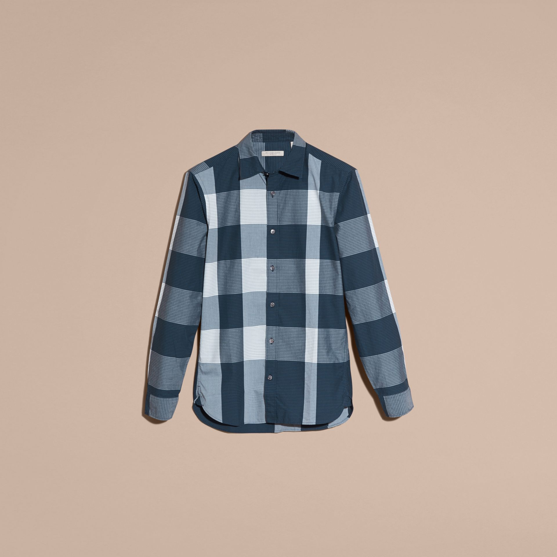 Bright steel blue Graphic Check Cotton Shirt Bright Steel Blue - gallery image 4