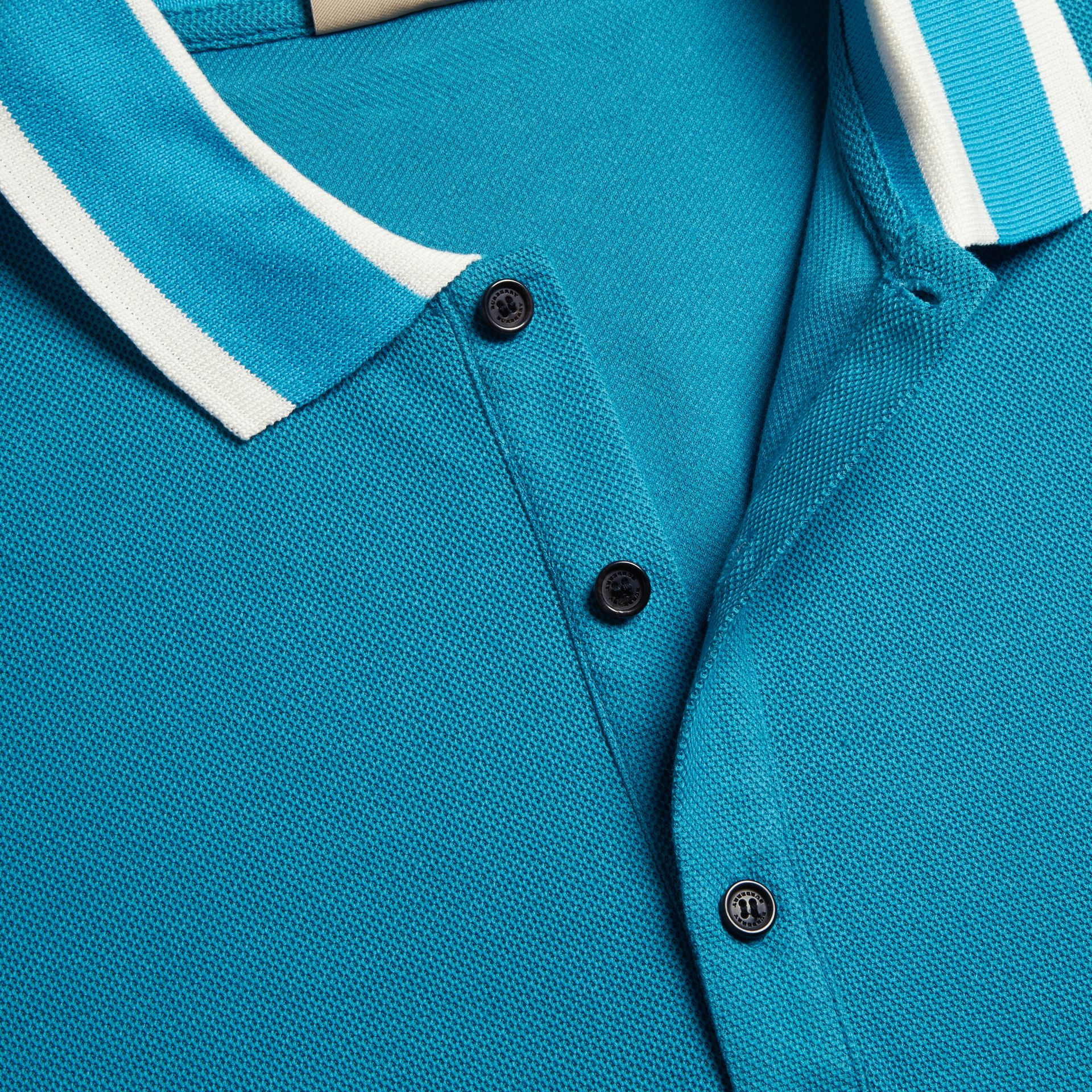 Striped Collar Cotton Piqué Polo Shirt Bright Turquoise - gallery image 2