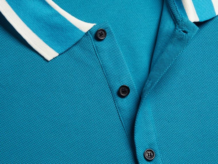 Striped Collar Cotton Piqué Polo Shirt Bright Turquoise - cell image 1