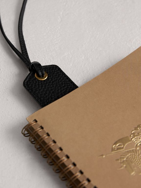 Embossed Leather Bookmark in Black | Burberry - cell image 1