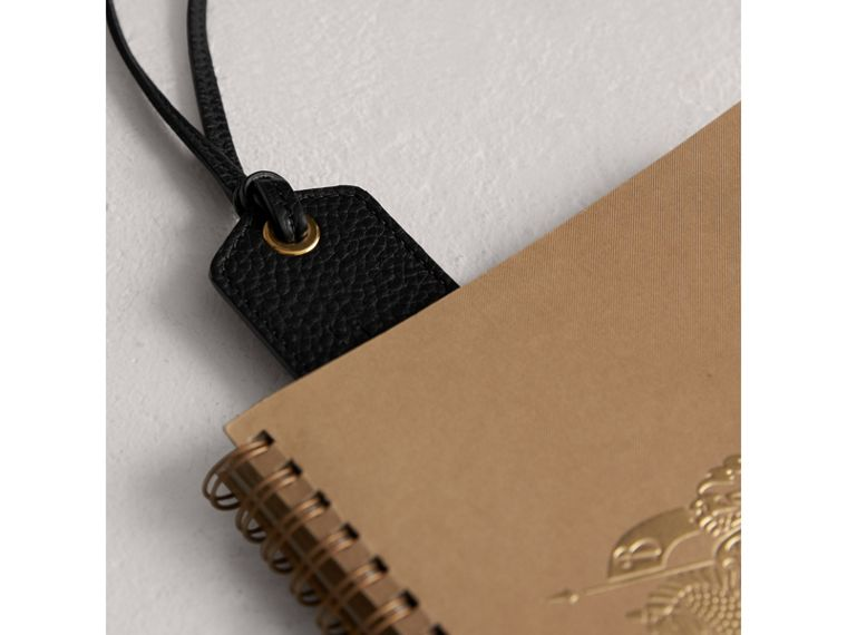 Embossed Leather Bookmark in Black | Burberry United States - cell image 1