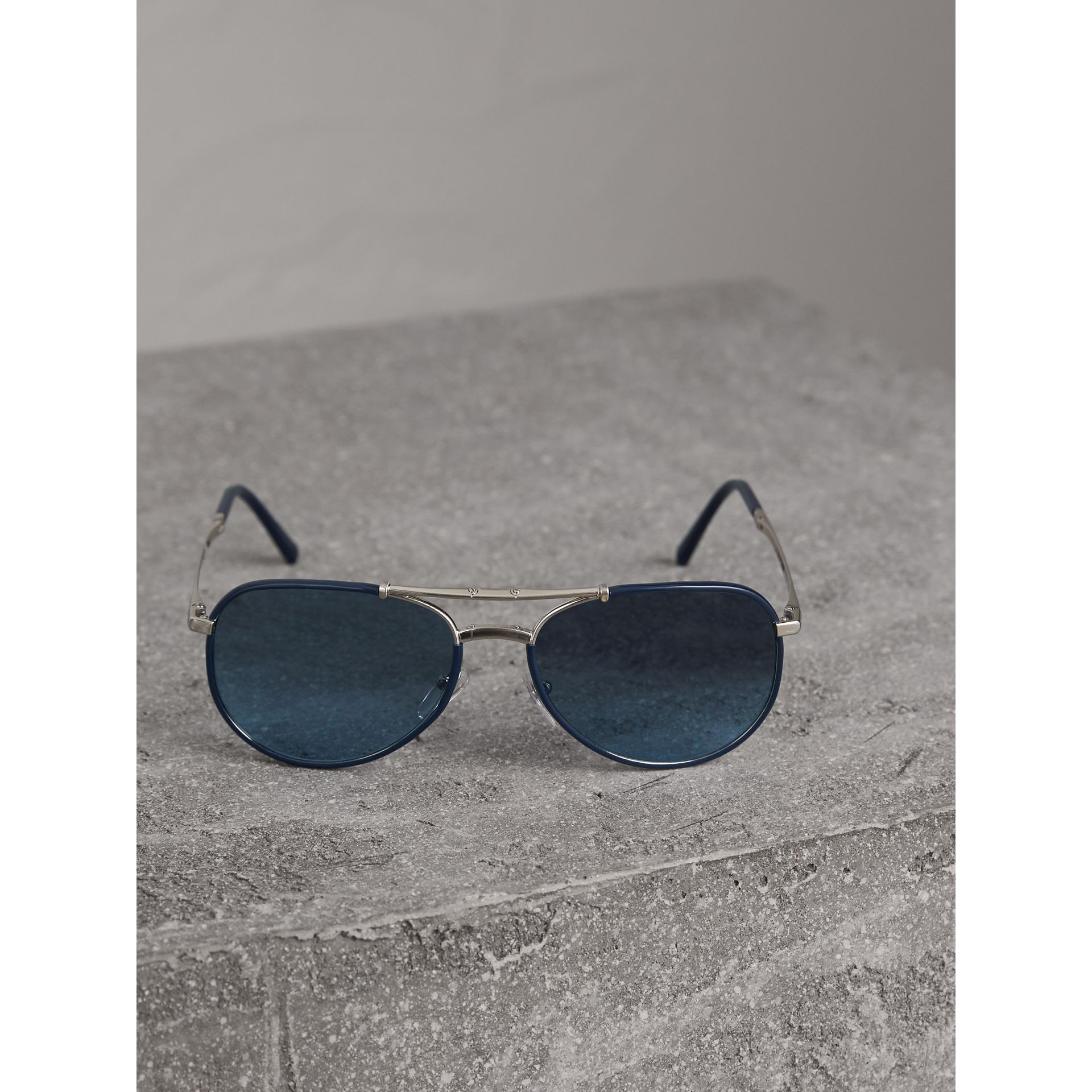 Folding Pilot Sunglasses in Navy - Men | Burberry United Kingdom - gallery image 3