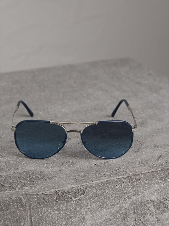 Folding Pilot Sunglasses in Navy - Men | Burberry Canada - cell image 3