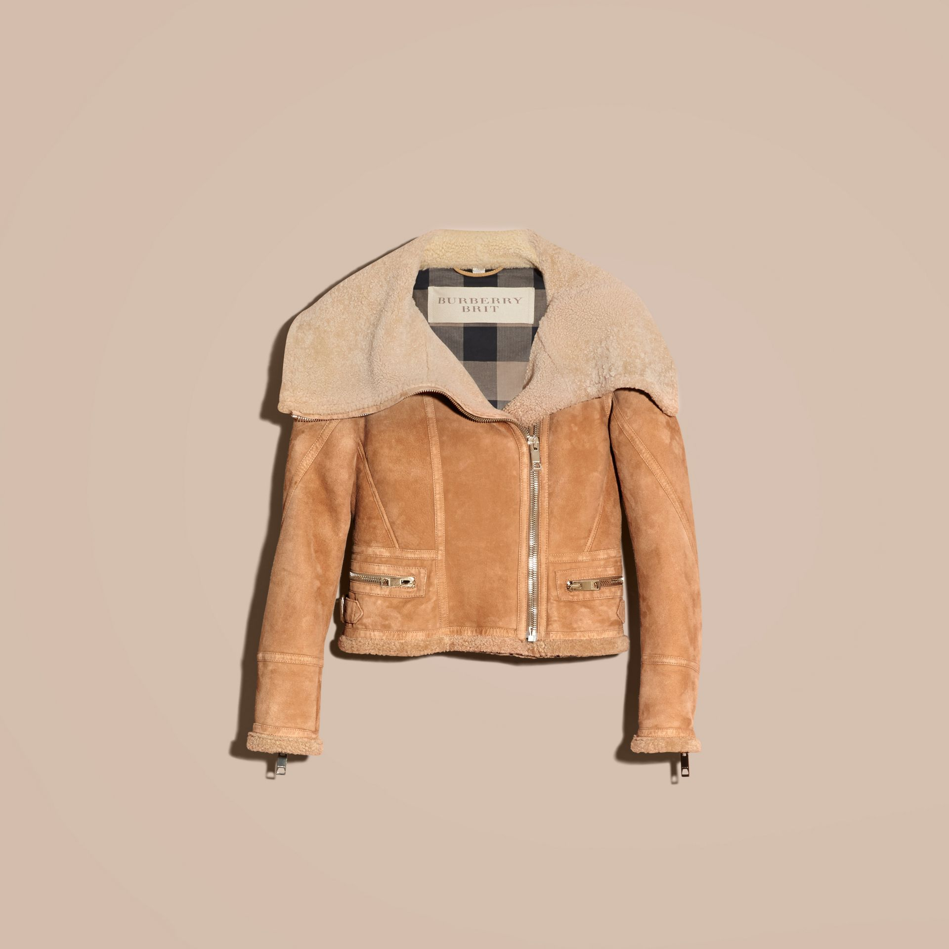 Honey Shearling Aviator Jacket - gallery image 4