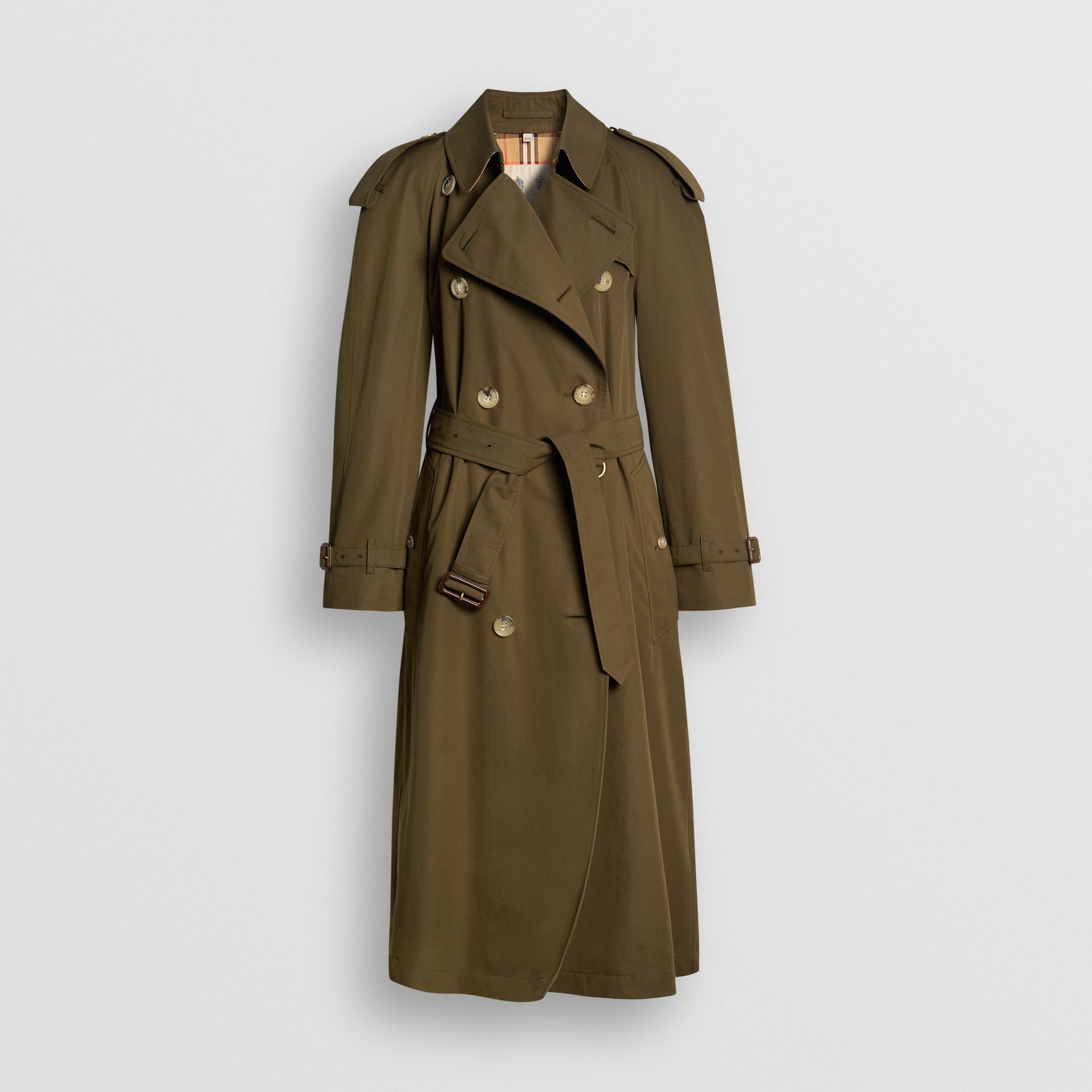 The Long Westminster Heritage Trench Coat in Dark Military Khaki - Women | Burberry - gallery image 3