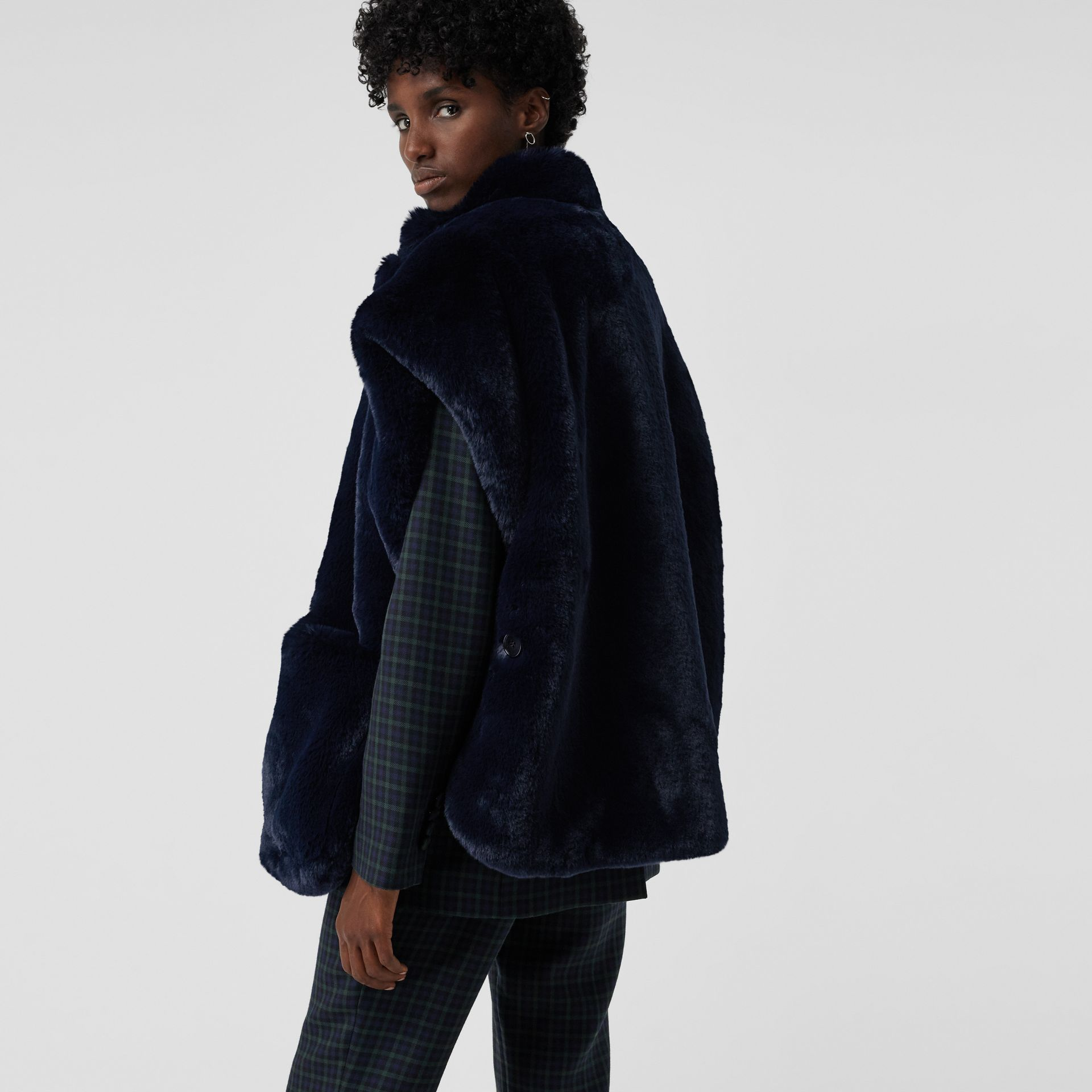 Stand Collar Faux Fur Cape in Navy - Women | Burberry Singapore - gallery image 2