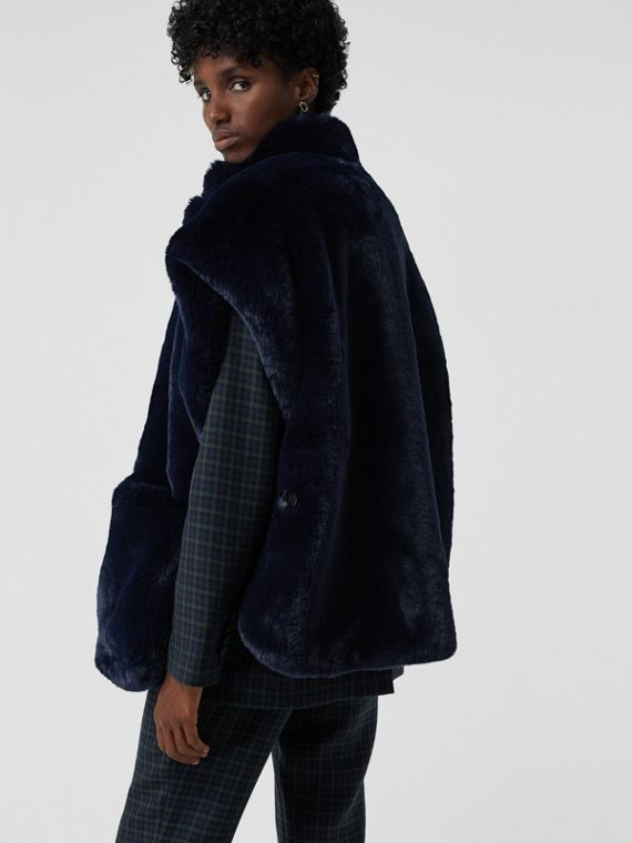 Stand Collar Faux Fur Cape in Navy