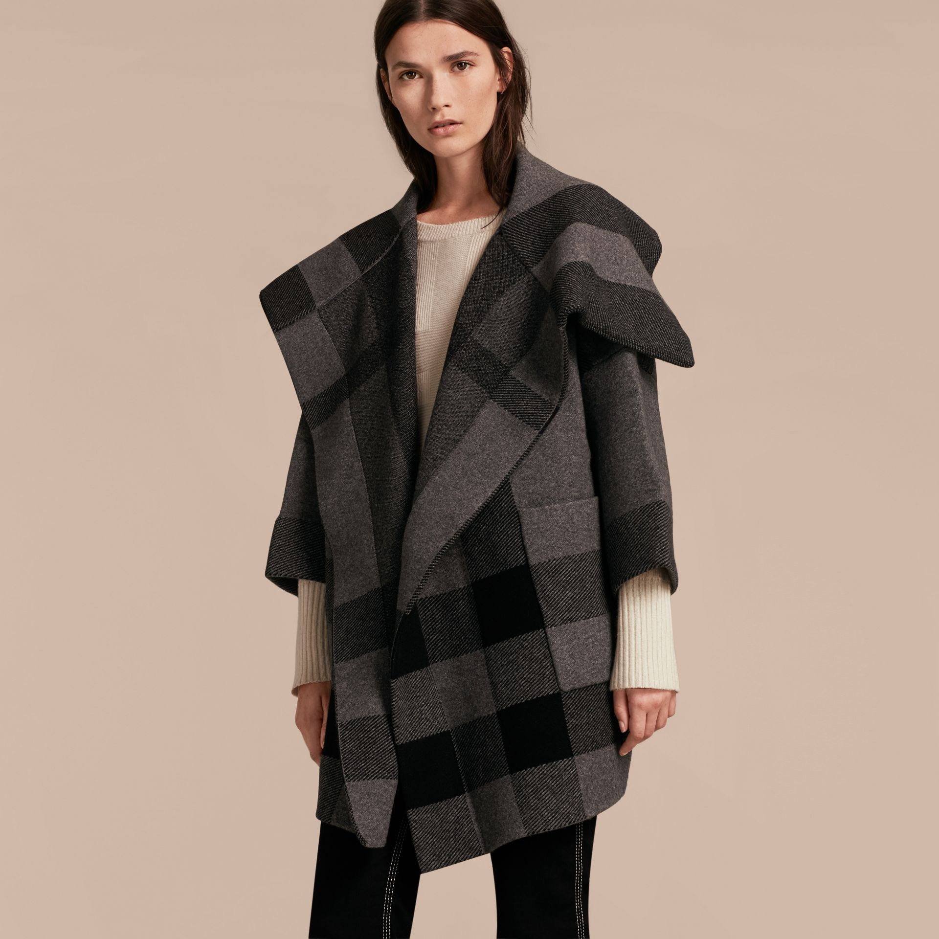 Oversize Stretch Wool Cashmere Wide Collar Coat in Mid Grey Melange - gallery image 6