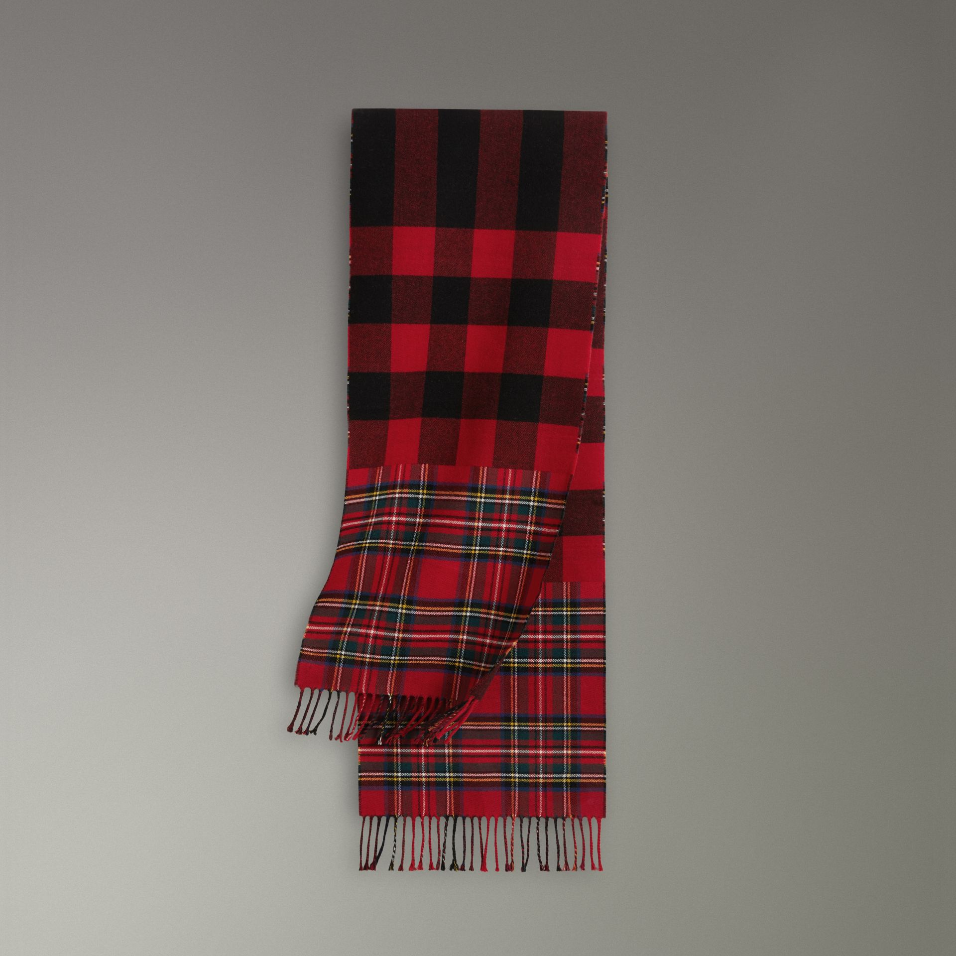 Check Merino Wool Scarf in Bright Red | Burberry - gallery image 0