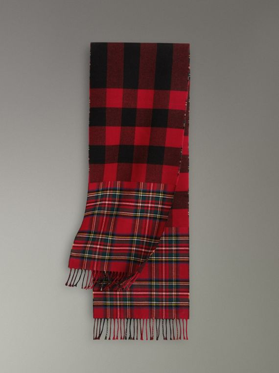 Check Merino Wool Scarf in Bright Red