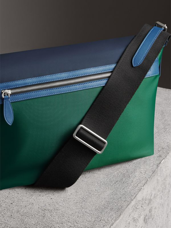 Large Tri-tone Nylon and Leather Messenger Bag in Black - Men | Burberry United Kingdom - cell image 2