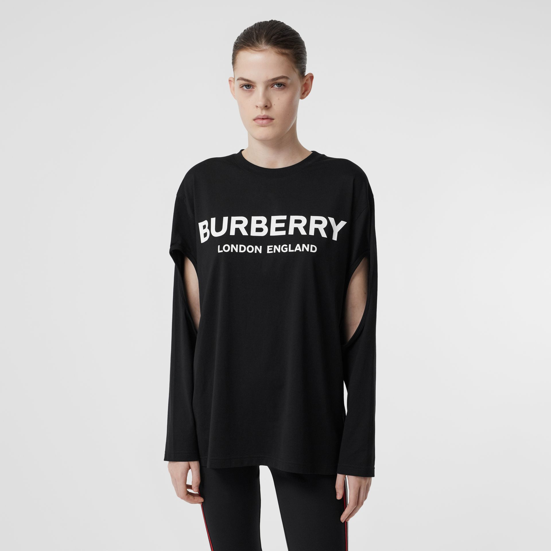 Long-sleeve Logo Print Cotton Oversized Top in Black - Women | Burberry - gallery image 0