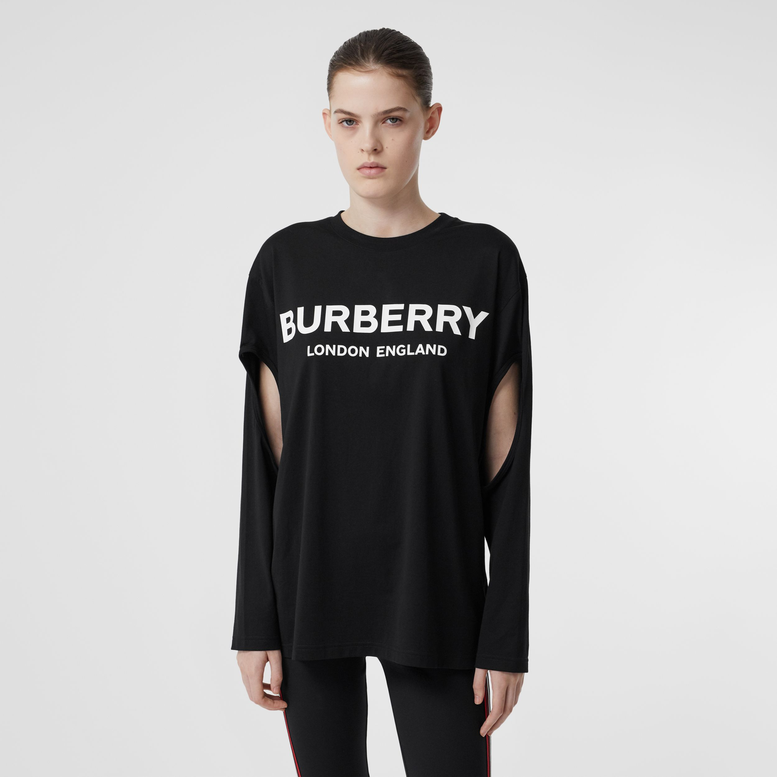 Long-sleeve Logo Print Cotton Oversized Top in Black - Women | Burberry Hong Kong S.A.R - 1