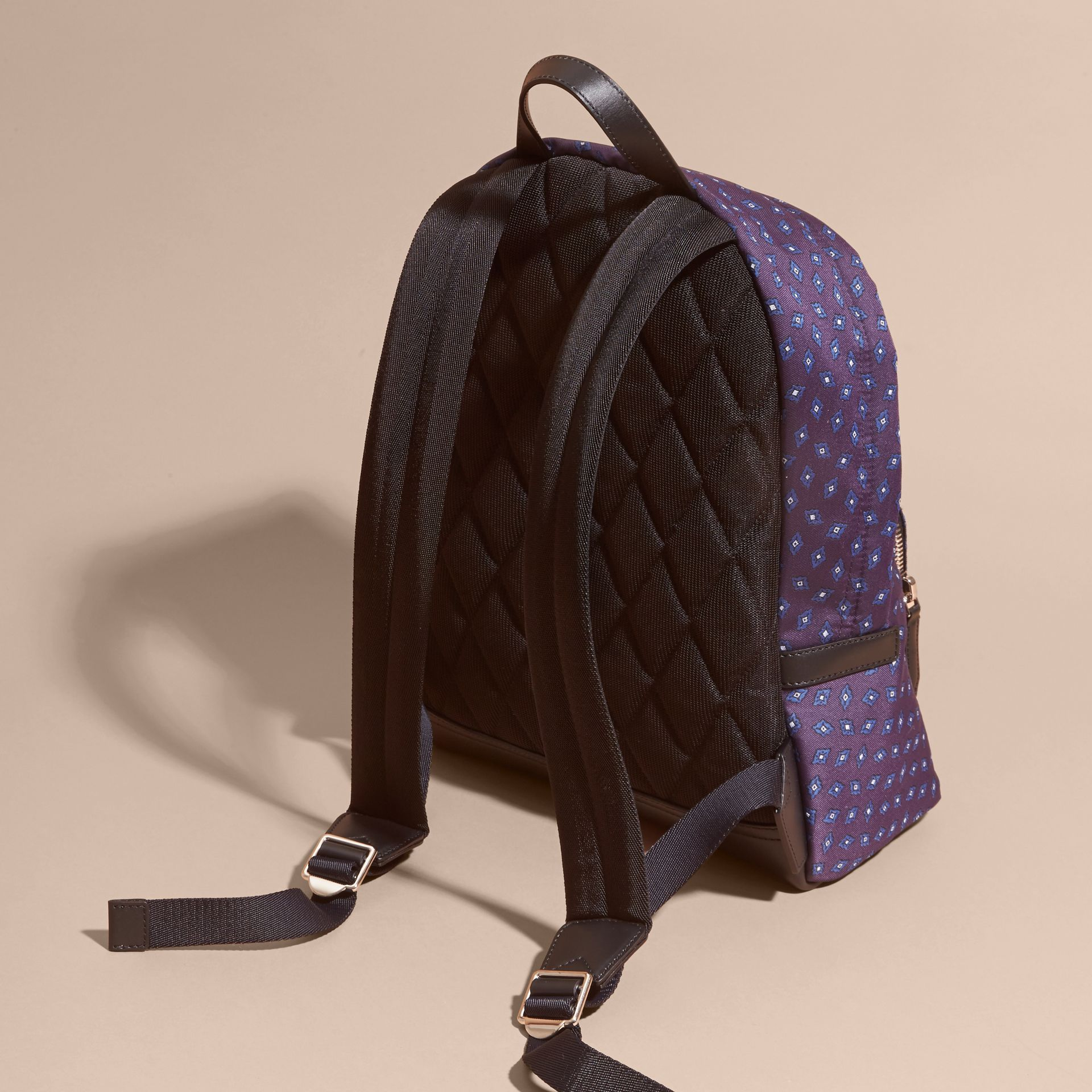 Deep aubergine Leather Trim Abstract Jacquard Backpack Deep Aubergine - gallery image 4