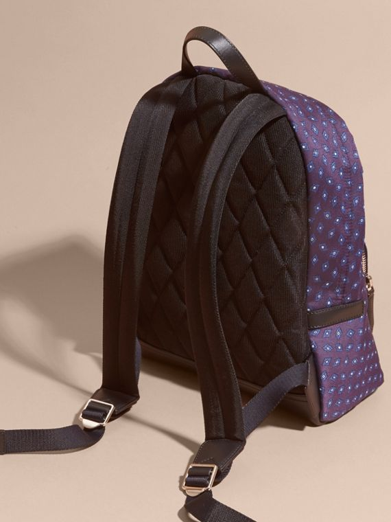 Deep aubergine Leather Trim Abstract Jacquard Backpack Deep Aubergine - cell image 3