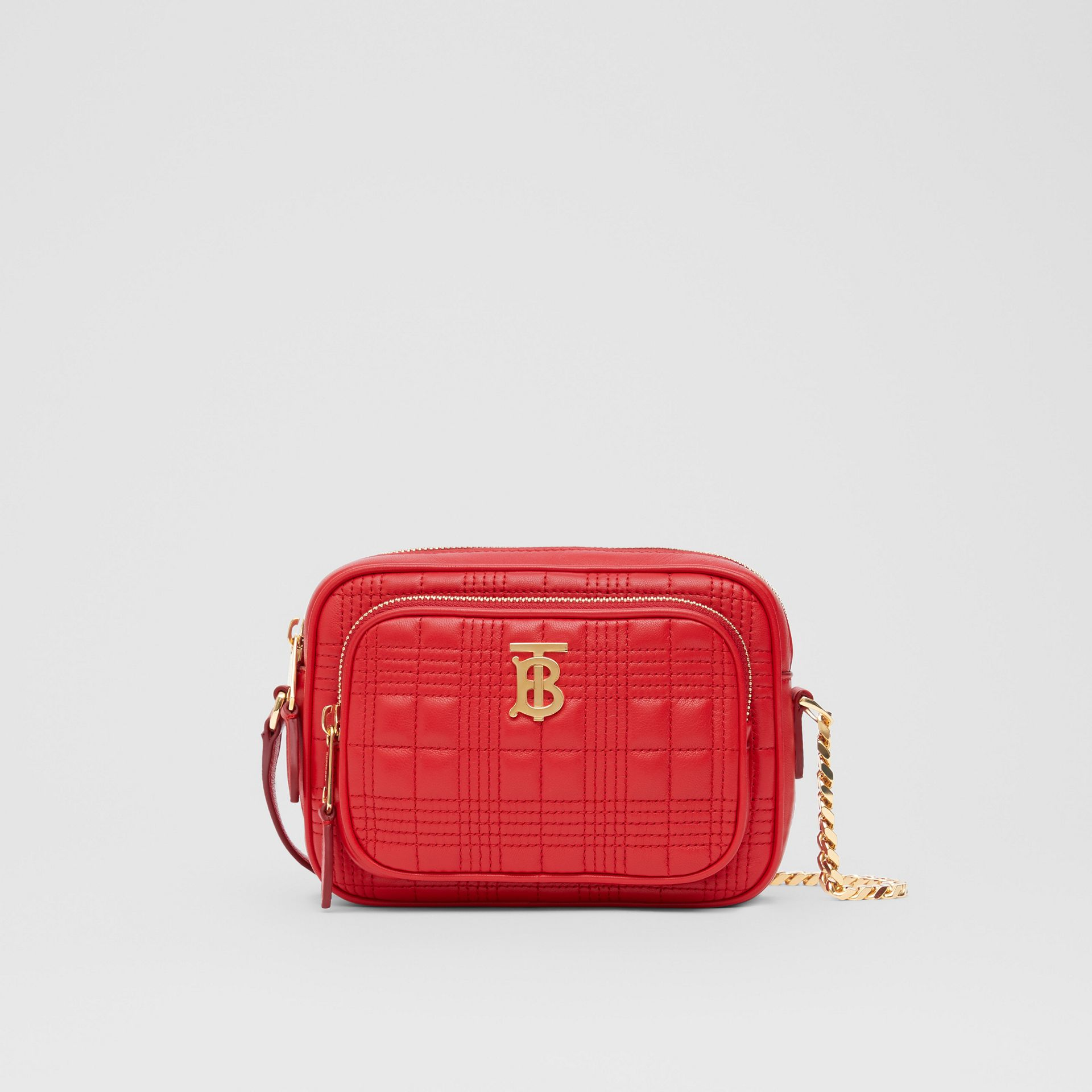 Small Quilted Lambskin Camera Bag in Bright Red | Burberry - gallery image 0