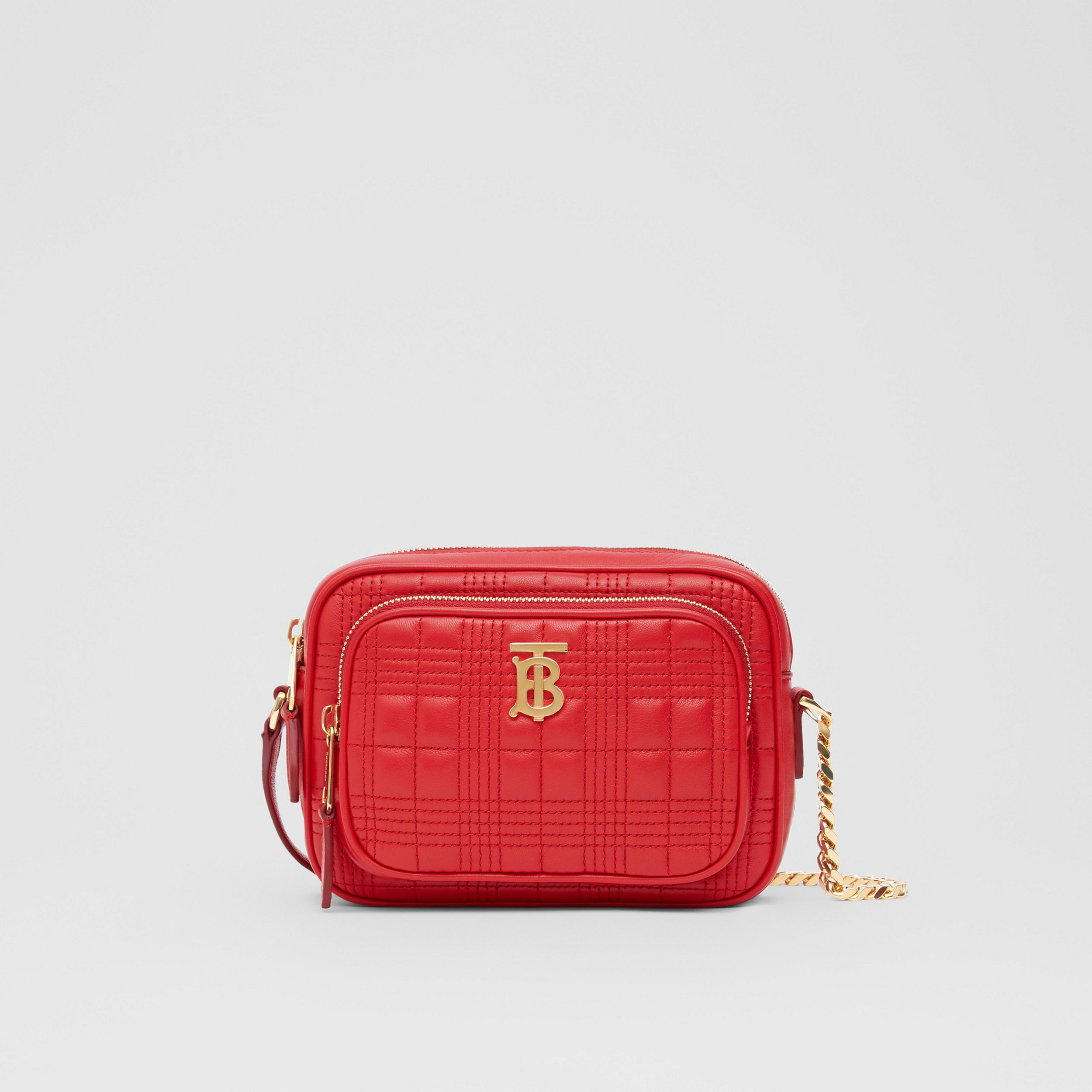 Small Quilted Lambskin Camera Bag in Bright Red | Burberry - 1