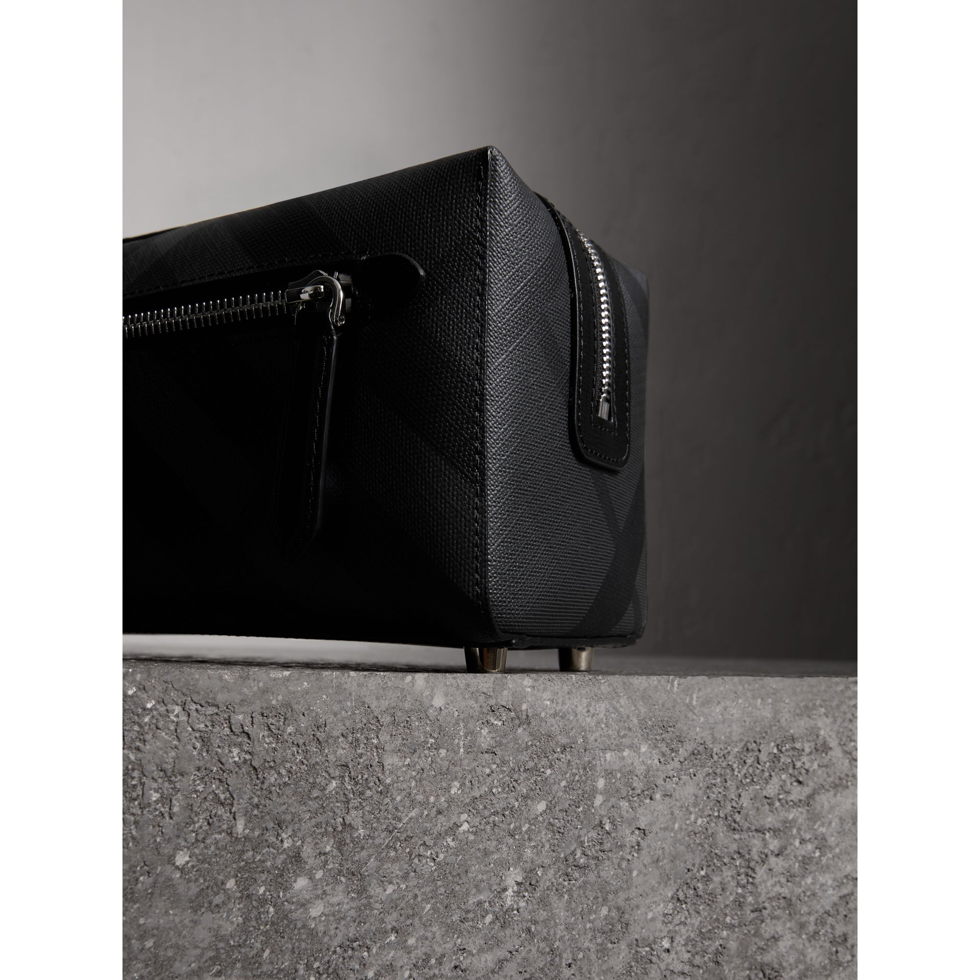 London Check and Leather Pouch in Charcoal/black | Burberry Canada - gallery image 1