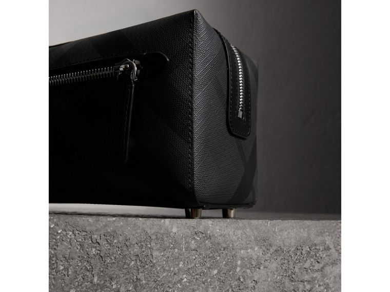 London Check and Leather Pouch in Charcoal/black | Burberry Canada - cell image 1