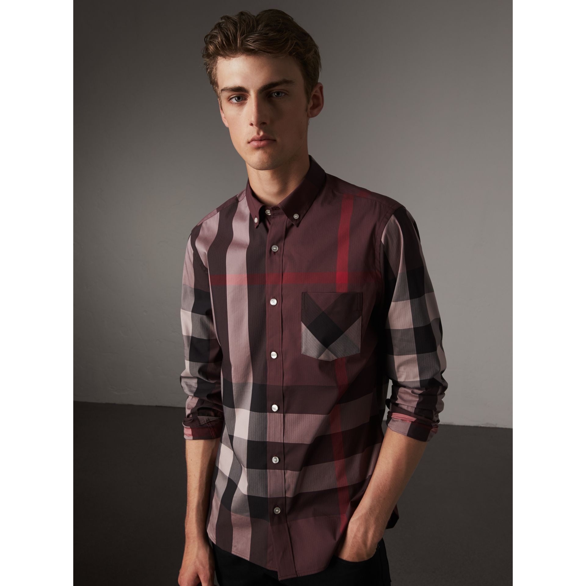 Button-down Collar Check Stretch Cotton Blend Shirt in Mahogany Red - Men | Burberry Singapore - gallery image 1