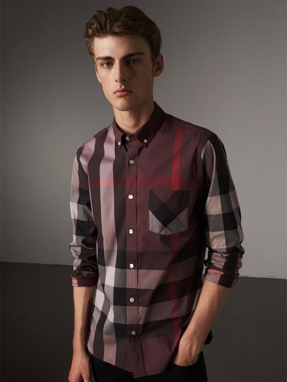 Button-down Collar Check Stretch Cotton Blend Shirt in Mahogany Red - Men | Burberry