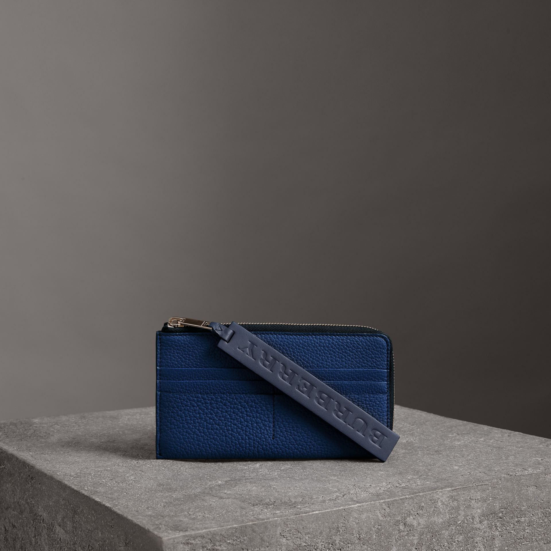 Grainy Leather Travel Wallet in Bright Ultramarine - Men | Burberry Australia - gallery image 0