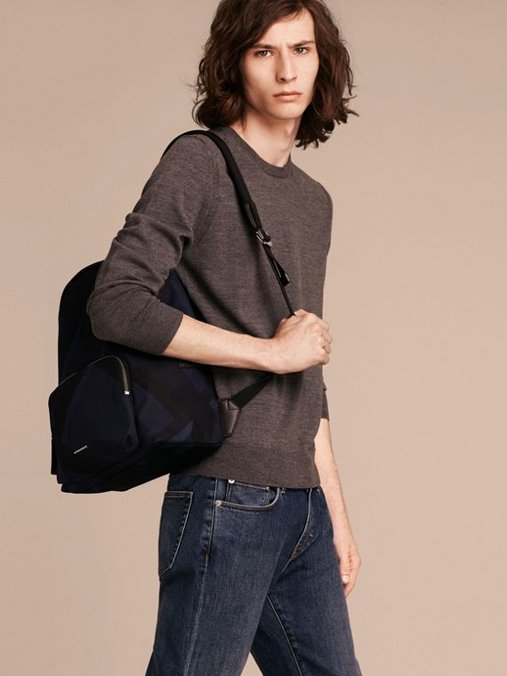 Navy check Leather-trimmed Printed Backpack - cell image 2