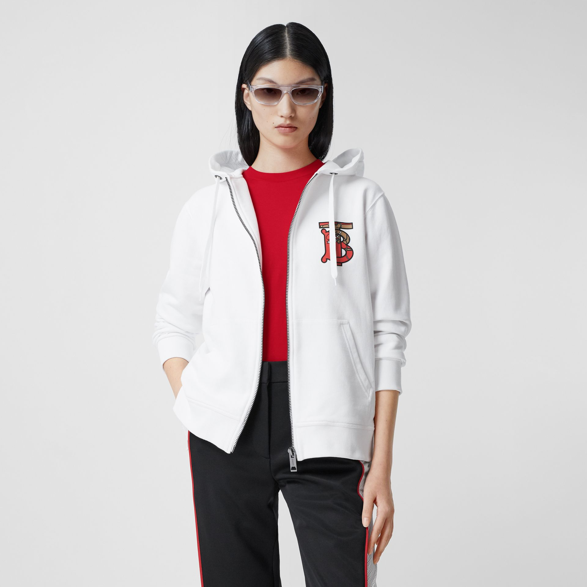 Monogram Motif Cotton Oversized Hooded Top in White - Women | Burberry Canada - gallery image 4