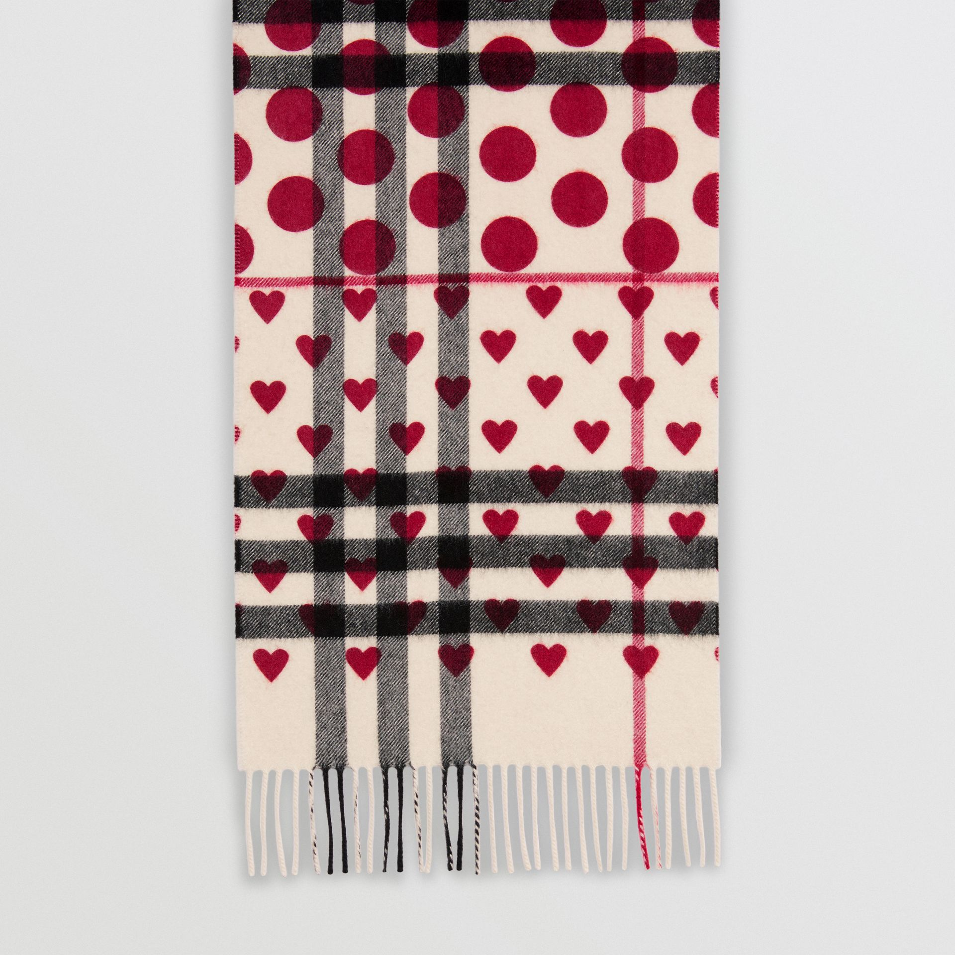 The Classic Heart Check Cashmere Scarf in Windsor Red | Burberry - gallery image 3
