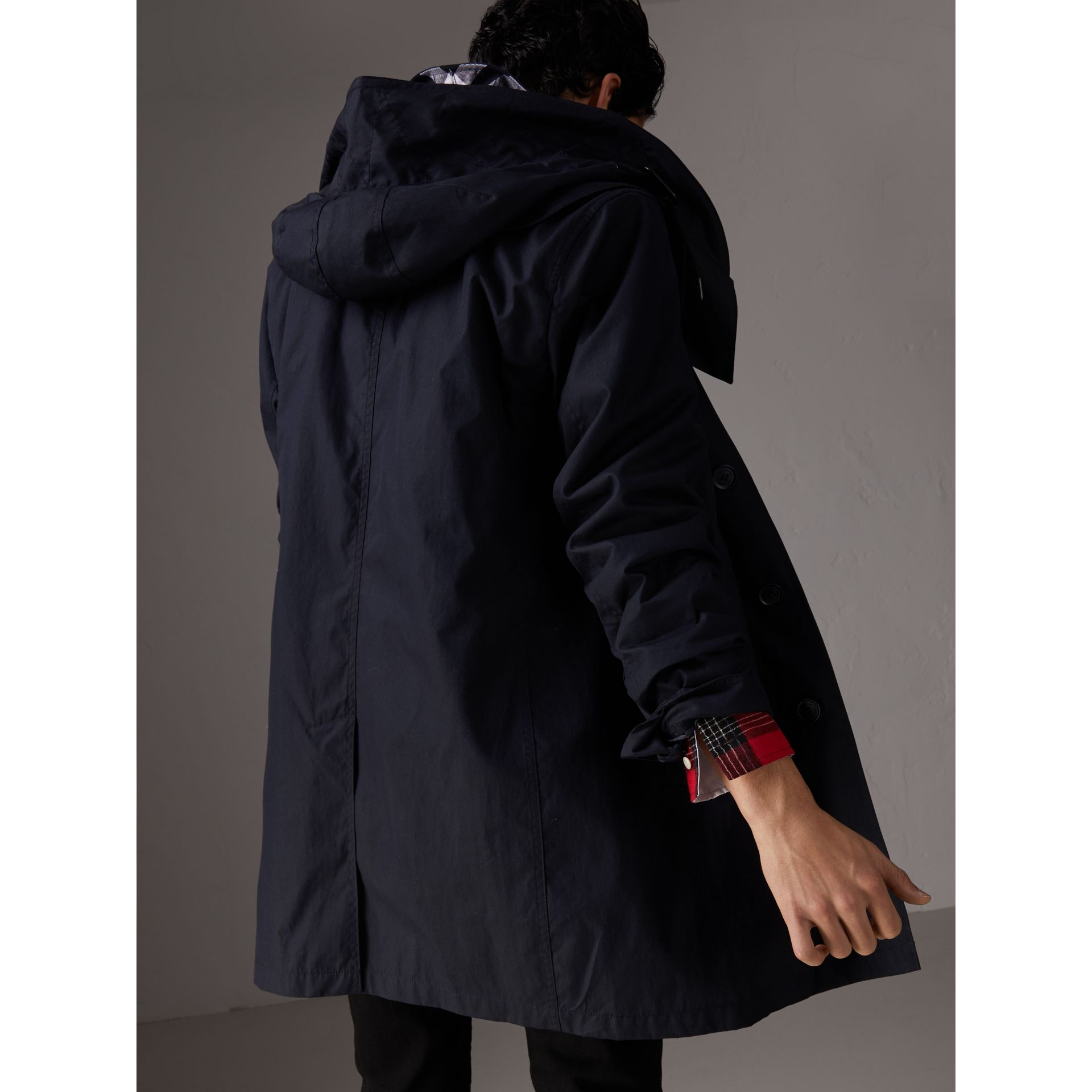 Detachable Hood Cotton Blend Car Coat with Warmer in Navy - Men | Burberry - gallery image 2