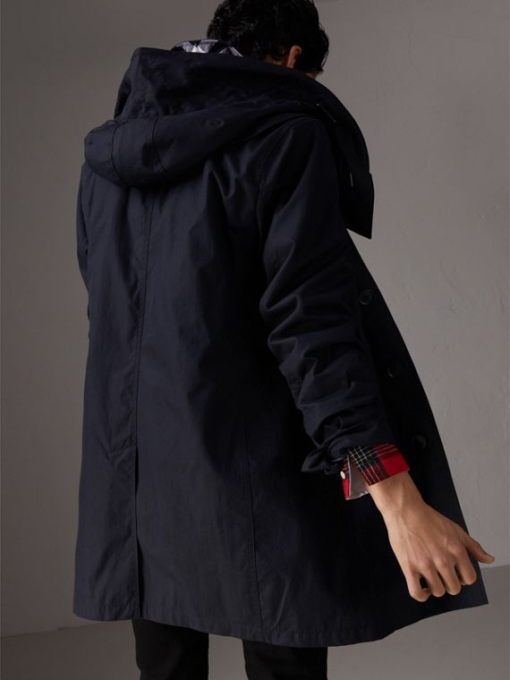 Detachable Hood Cotton Blend Car Coat with Warmer in Navy - Men | Burberry United Kingdom - cell image 2