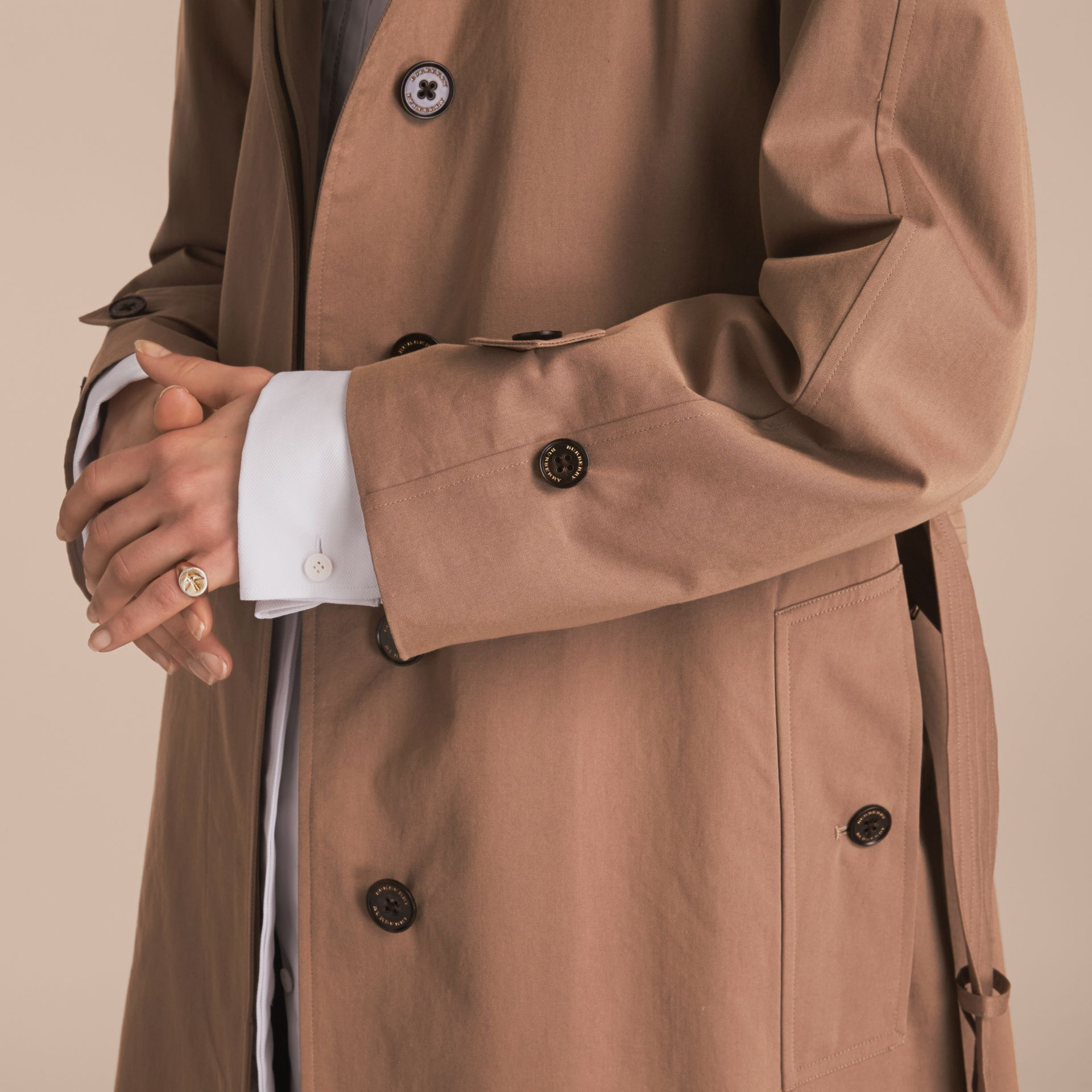 Tropical Gabardine Trench Coat in Taupe - Women | Burberry United States - gallery image 7
