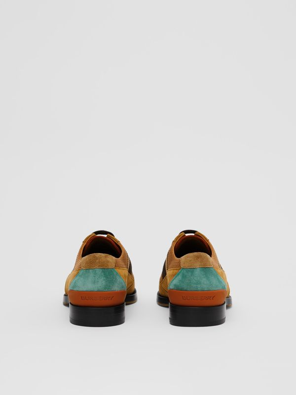 Mesh Panel Suede Lace-up Shoes in Mix Tan - Men | Burberry United Kingdom - cell image 3