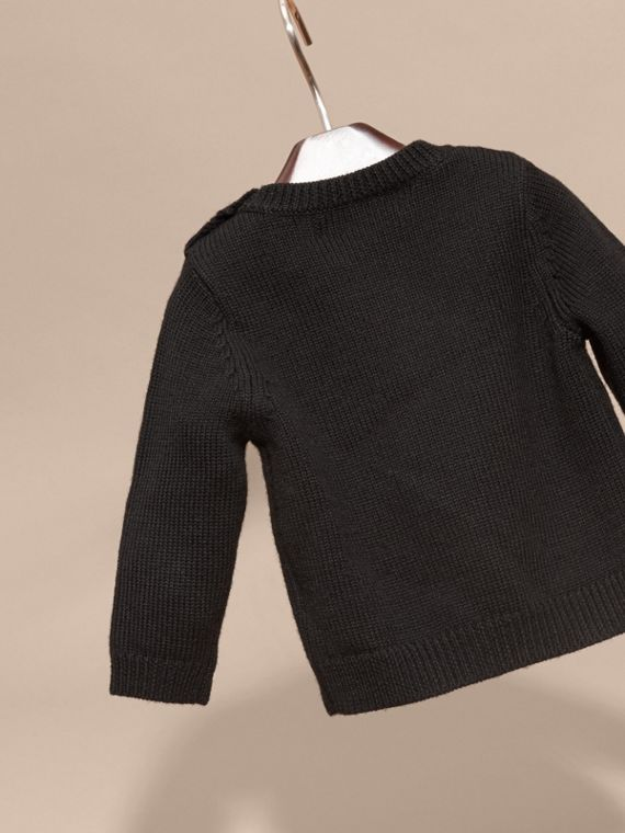 Black Woodpecker Intarsia Merino Wool Sweater - cell image 3