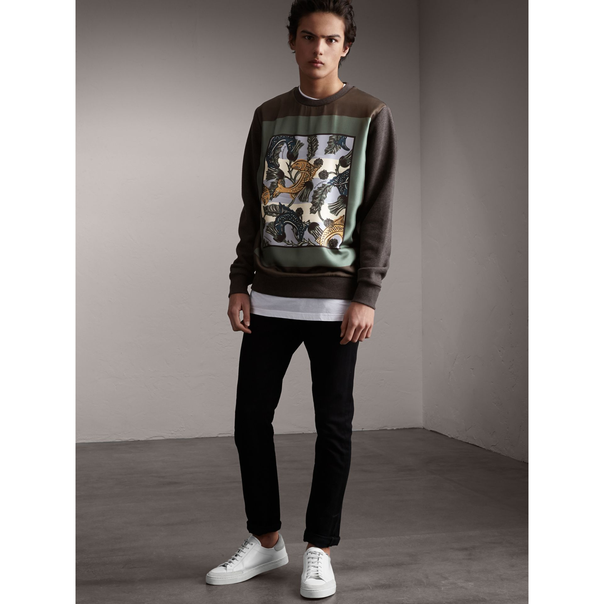 Unisex Beasts Print Silk Panel Cotton Sweatshirt in Charcoal Melange - Women | Burberry - gallery image 3