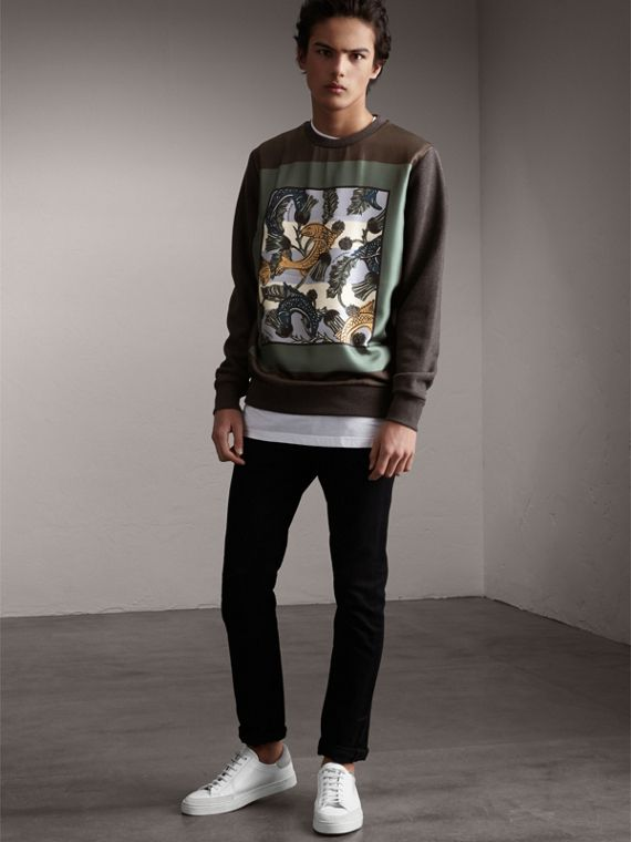 Unisex Beasts Print Silk Panel Cotton Sweatshirt in Charcoal Melange - Women | Burberry - cell image 2