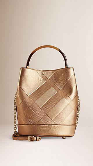 The Small Bucket Bag in Embossed Check Leather