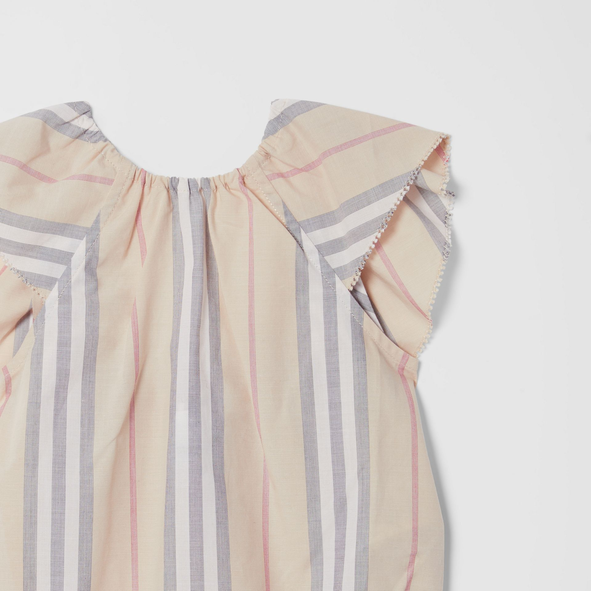 Ruffled Icon Stripe Cotton Bodysuit in Pale Stone - Children | Burberry United States - gallery image 4