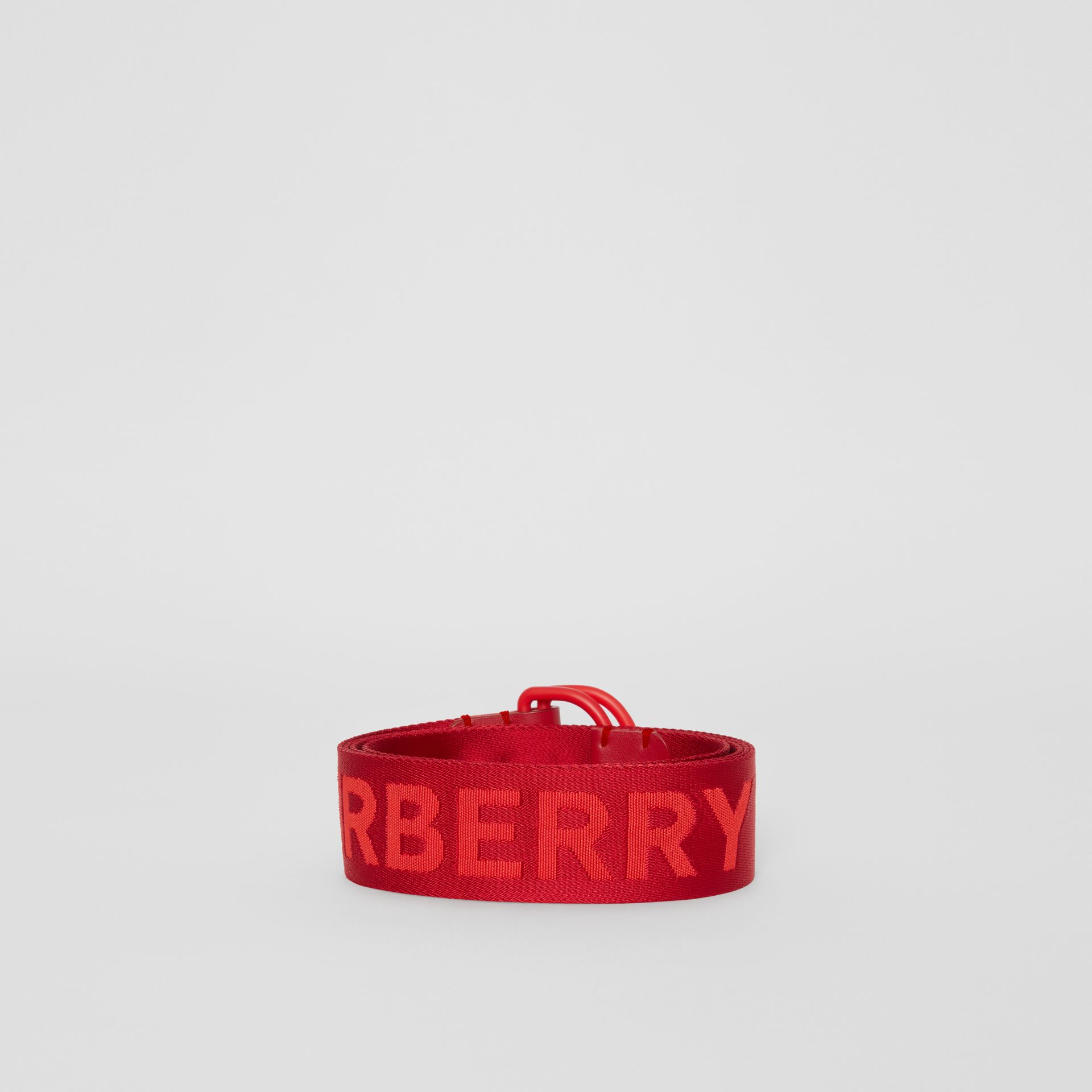 Logo Detail Double D-ring Belt in Bright Red - Men | Burberry United Kingdom - gallery image 3