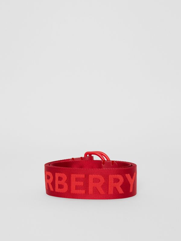 Logo Detail Double D-ring Belt in Bright Red - Men | Burberry Canada - cell image 3