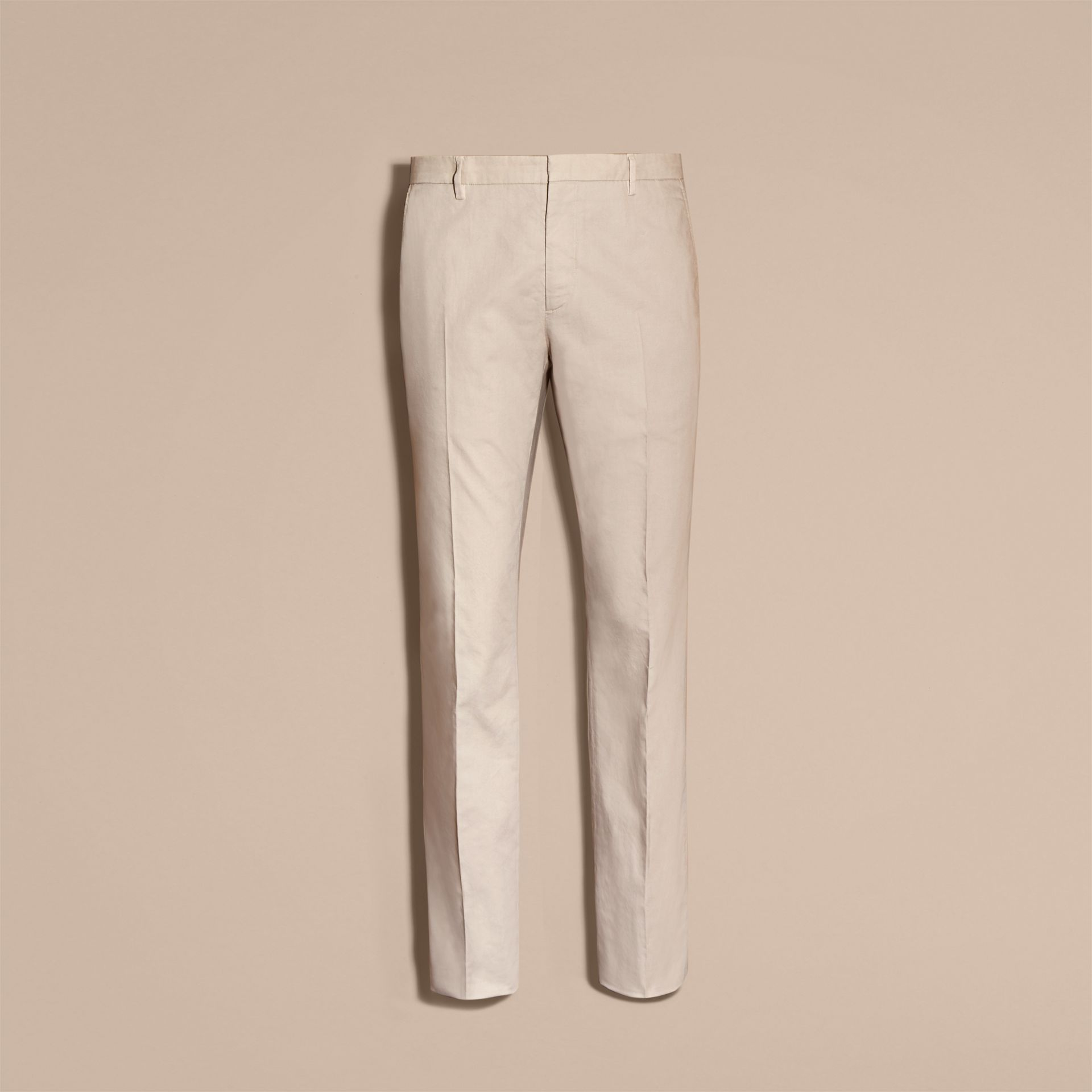 Slim Fit Stretch Cotton Trousers Sand - gallery image 4