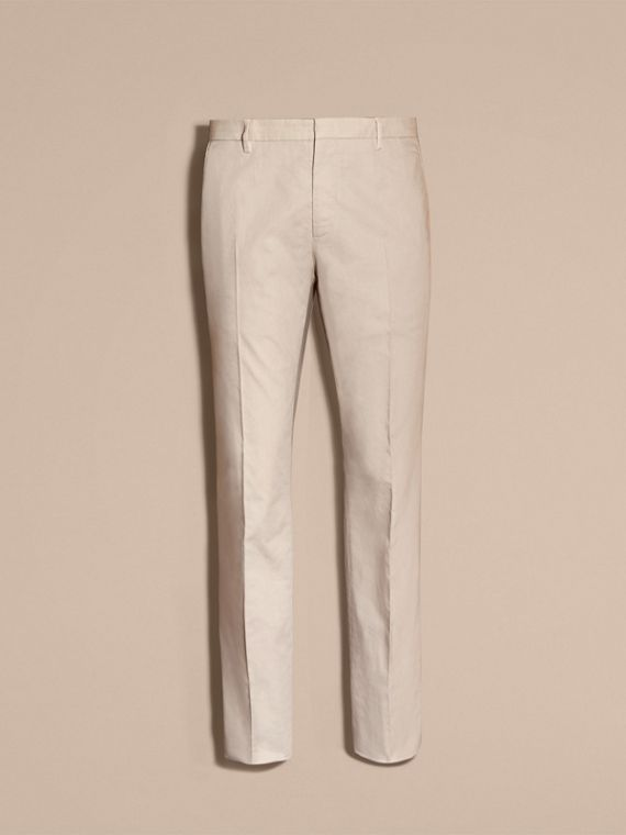 Slim Fit Stretch Cotton Trousers Sand - cell image 3