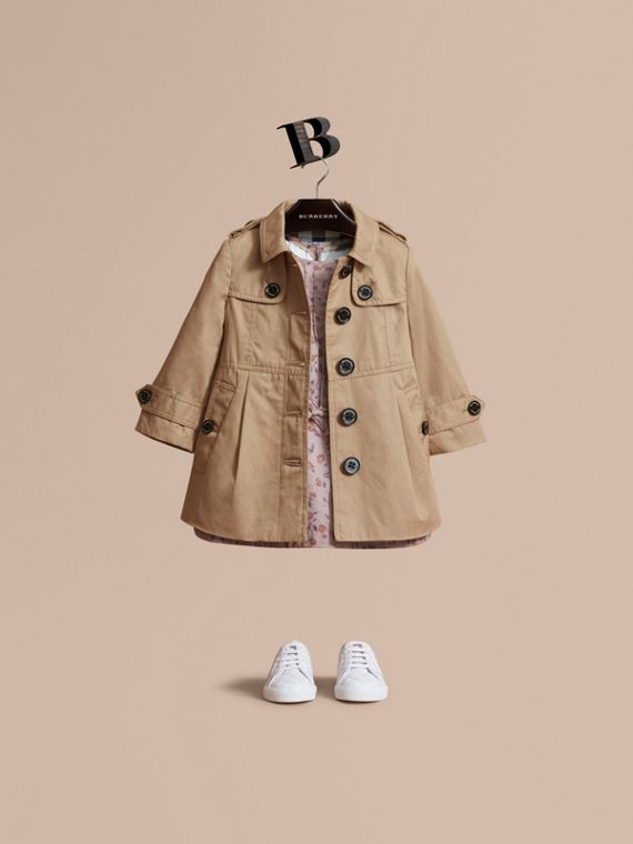 Trench-coat en coton à boutonnage simple (Miel) | Burberry