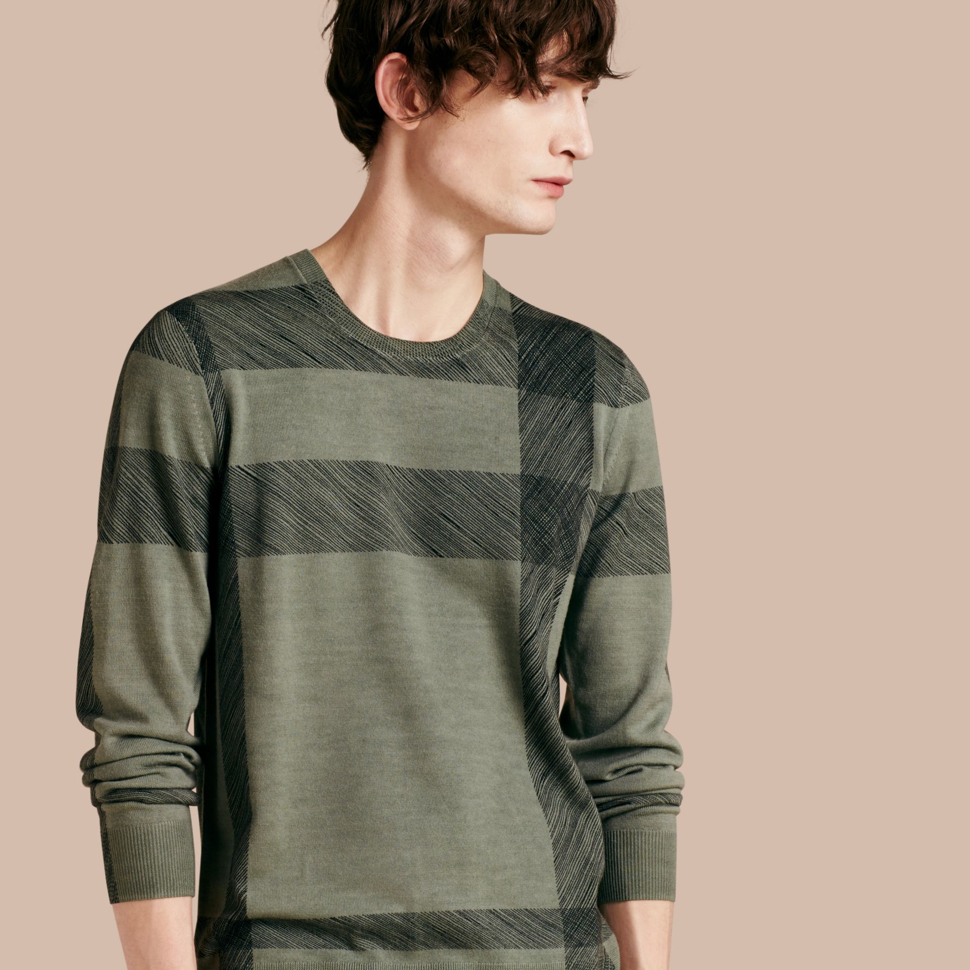 Eucalyptus green Abstract Check Merino Wool Sweater Eucalyptus Green - gallery image 1