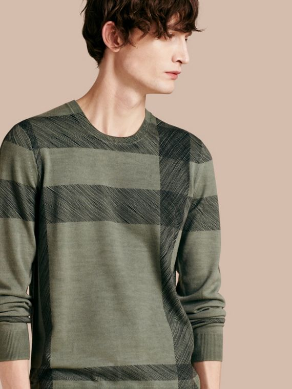 Abstract Check Merino Wool Sweater Eucalyptus Green