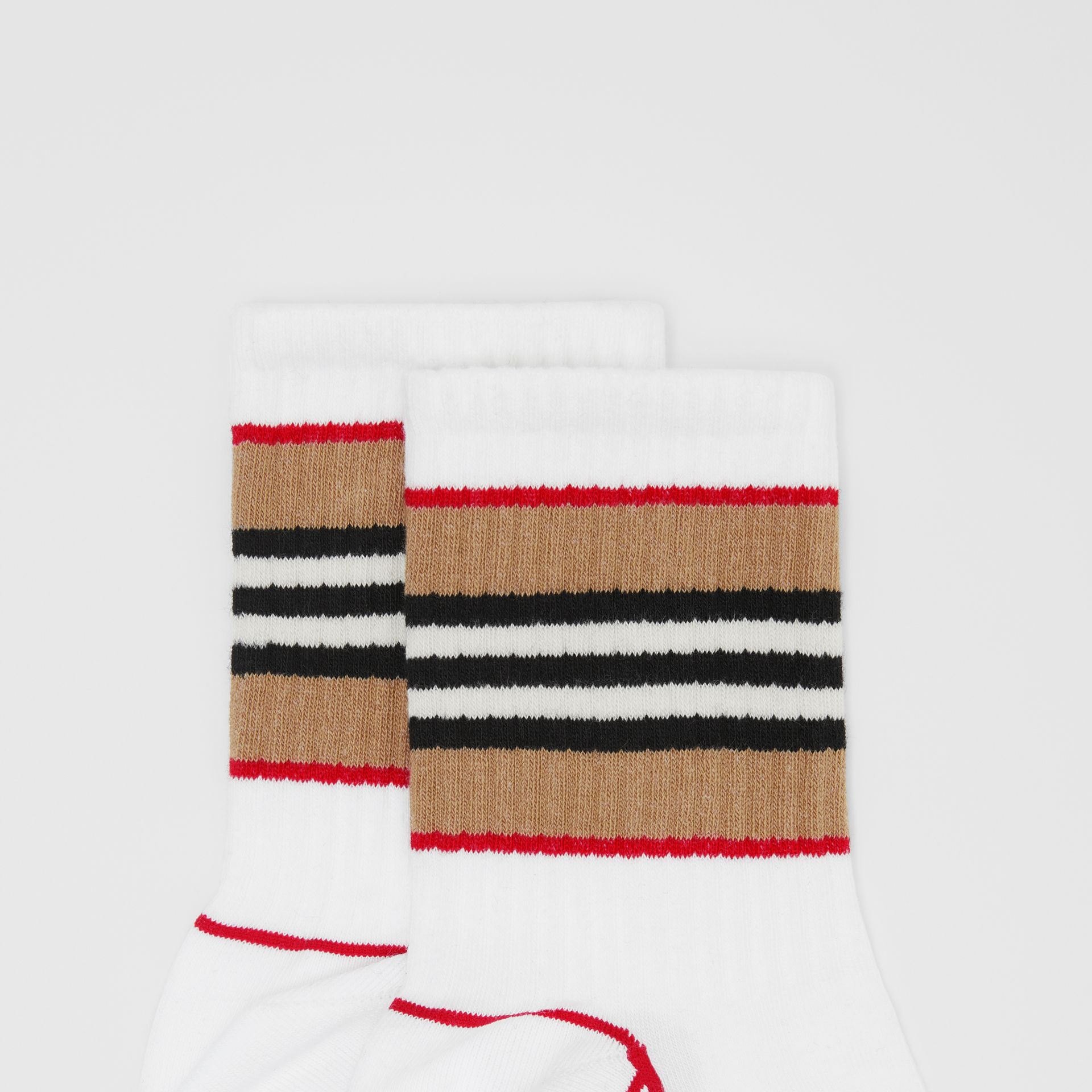 Icon Stripe Intarsia Cotton Blend Ankle Socks in White | Burberry - gallery image 1