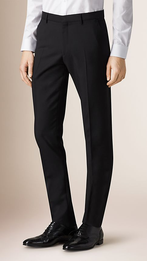 Black Slim Fit Wool Mohair Trousers - Image 1
