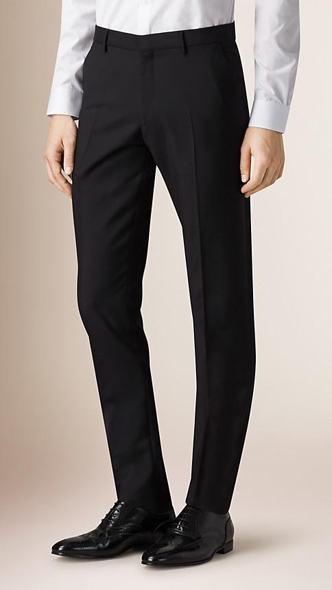 Noir Pantalon de coupe slim en laine mohair - Image 1