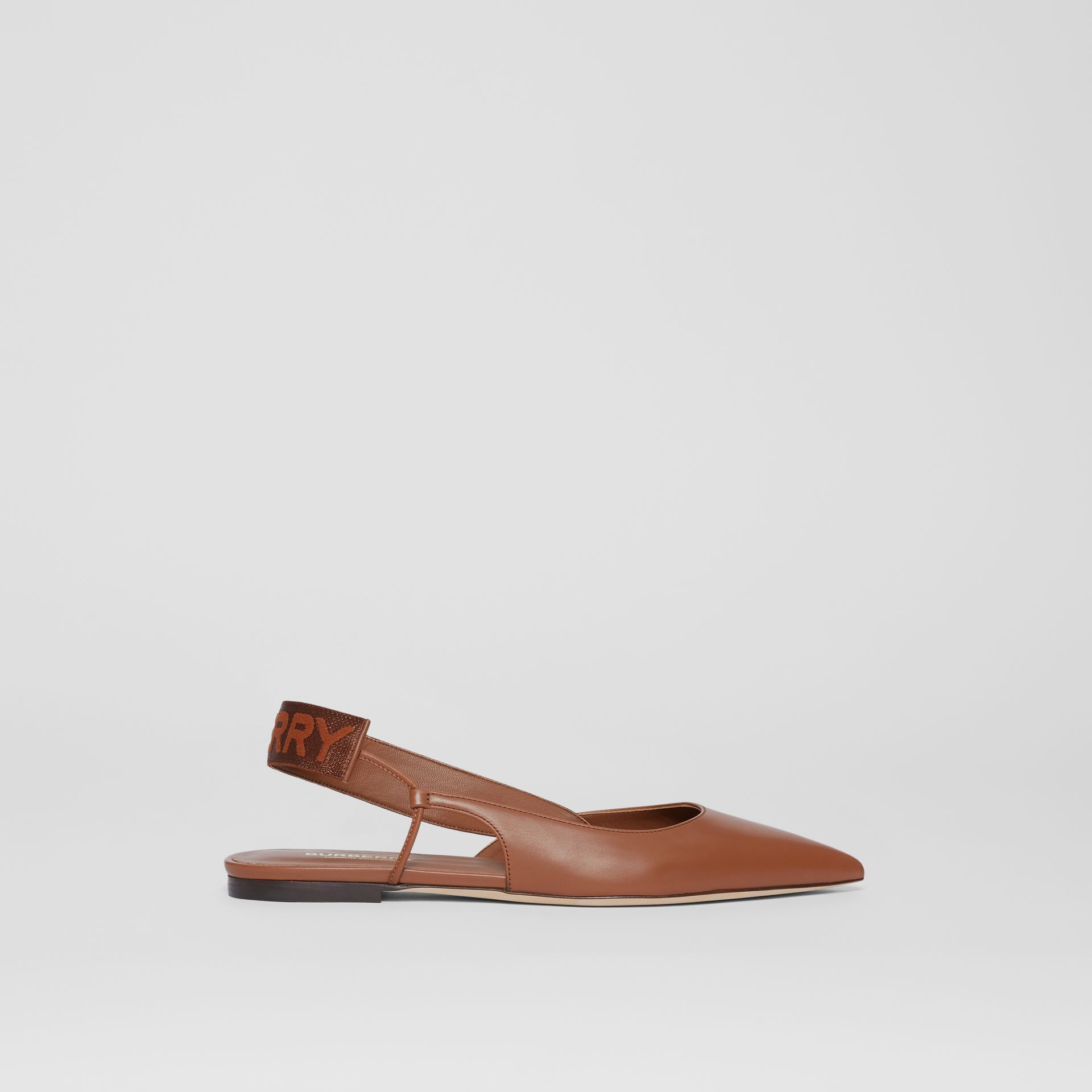Logo Detail Leather Slingback Flats in Tan - Women | Burberry - gallery image 4