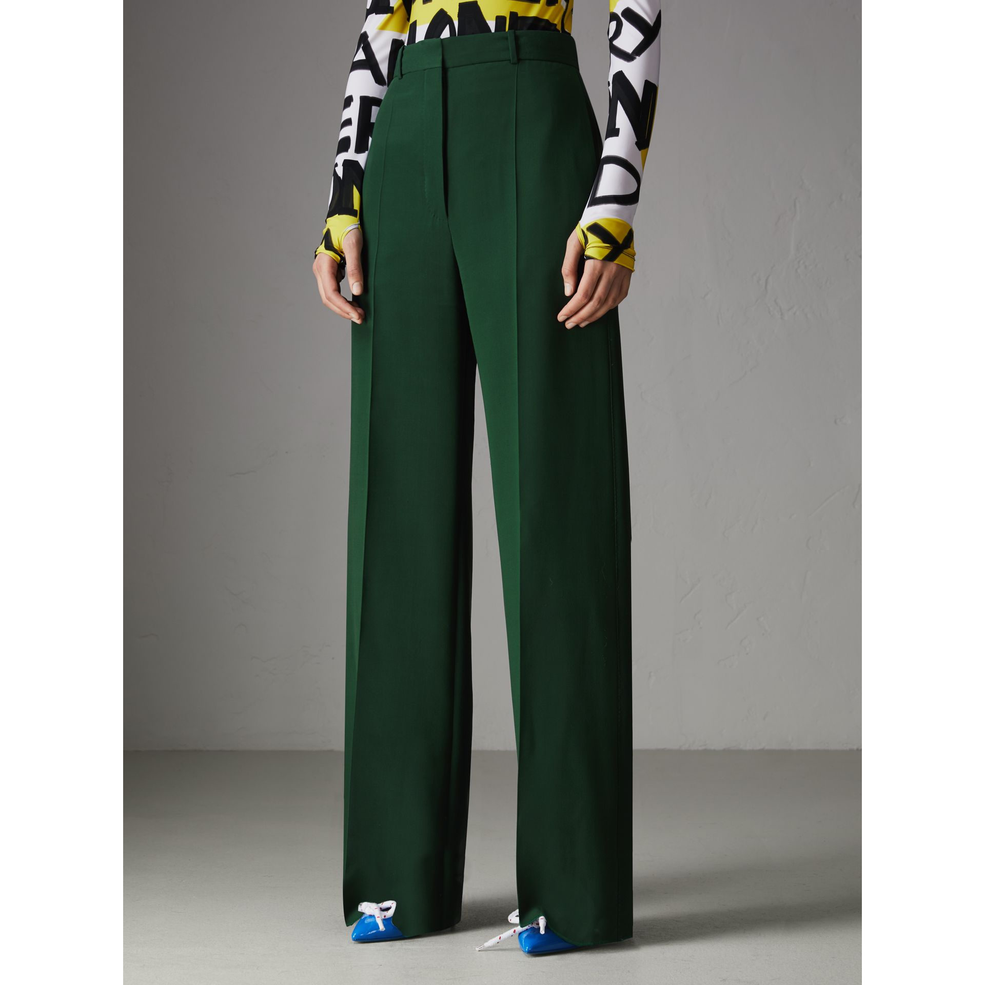 Silk Wool High-waisted Trousers in Dark Forest Green - Women | Burberry - gallery image 5